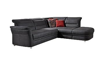 Cavadore Eck-Sofa Bontlei / Federkern-Couch mit Ottomane / Inkl.  Schlaffunktion und Stauraum / 261 x 88 x 237 cm (BxHxT) / Mikrofaser  dunkelgrau