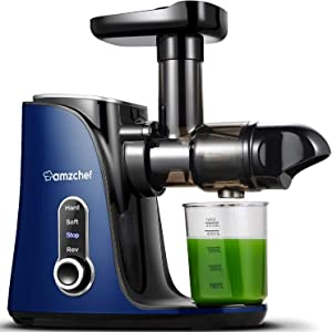 Juicer Machines,AMZCHEF Slow Masticating Juicer Extractor, Cold Press Juicer with Two Speed Modes, 2 Travel bottles(500ML),LED display, Easy to Clean Brush & Quiet Motor for Vegetables&Fruits (Blue)