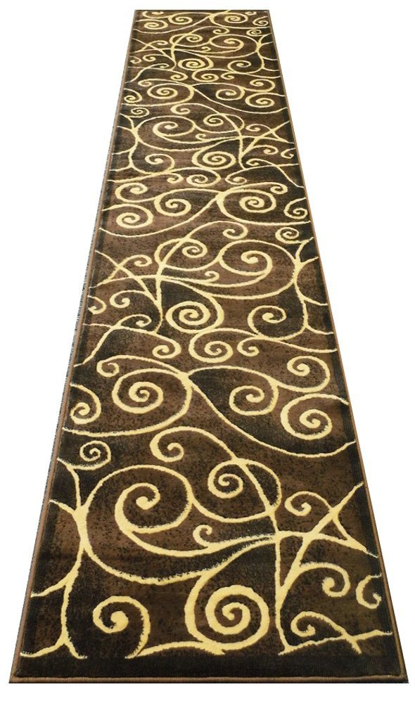 Amazon.com: Modern Runner Rug 2 Ft. 4 In. X 10 Ft. 11 In. # G23 Chocolate:  Kitchen U0026 Dining