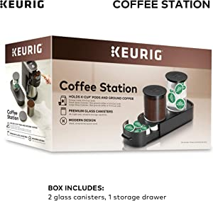 Keurig K-Cup Pod & Ground Coffee Storage Unit, Coffee Storage, Holds up to 12 ounces of Ground Coffee & 12 K-Cup Pods, Black