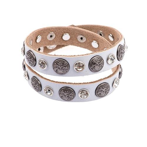 2ade20dc0e85 adonia mode Damen Glitzer Armband Echt Leder Wickelarmband Totenkopf Nieten  Strass verstellbar 106-01 Hellgrau  Amazon.de  Schmuck