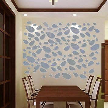 HuaYang DIY Spiegel Wandtattoo Dekor Pflasterstein Abziehbar Wandaufkleber  Sticker Wohnzimmer Dekoration