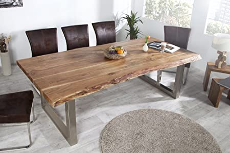 Mammut Solid Tree Trunk Dining Table 200 Cm Acacia Blade Coarse Industrial  Look Frame