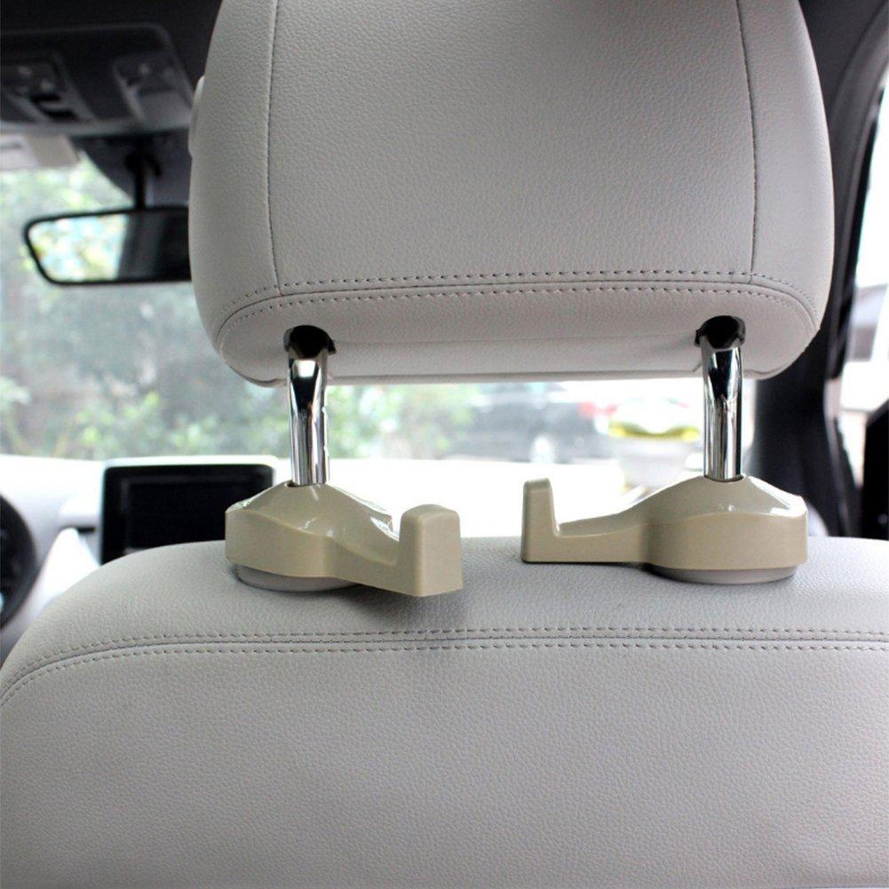 MoLiSmart Universal Car Hooks Vehicle Back Seat Headrest Hanger Holder Hook for Groceries Clothes Bag Handbag-2 Pack