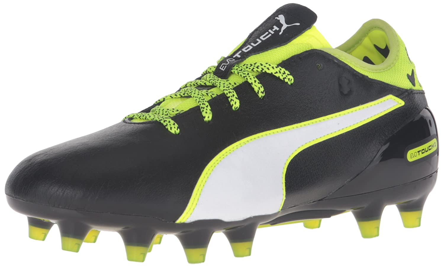 Puma Mens evoTOUCH 2 FG Soccer Shoe  10.5 D(M) US|Black/White/Safety Yellow/Grey