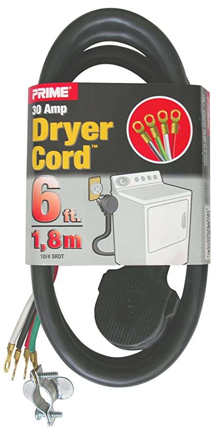 Prime RD100406L 3-Pole 4-Wire SRDT 30A 125/250-Dryer Cord Volt ...