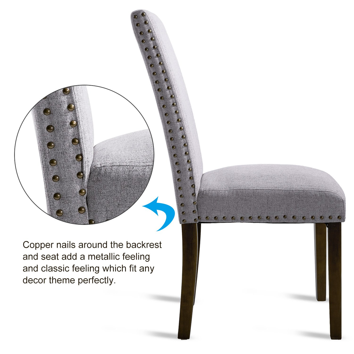 Merax PP036415 Set of 2 Fabric Dining Chairs with Copper Nails and Solid Wood Legs by Merax (Image #3)