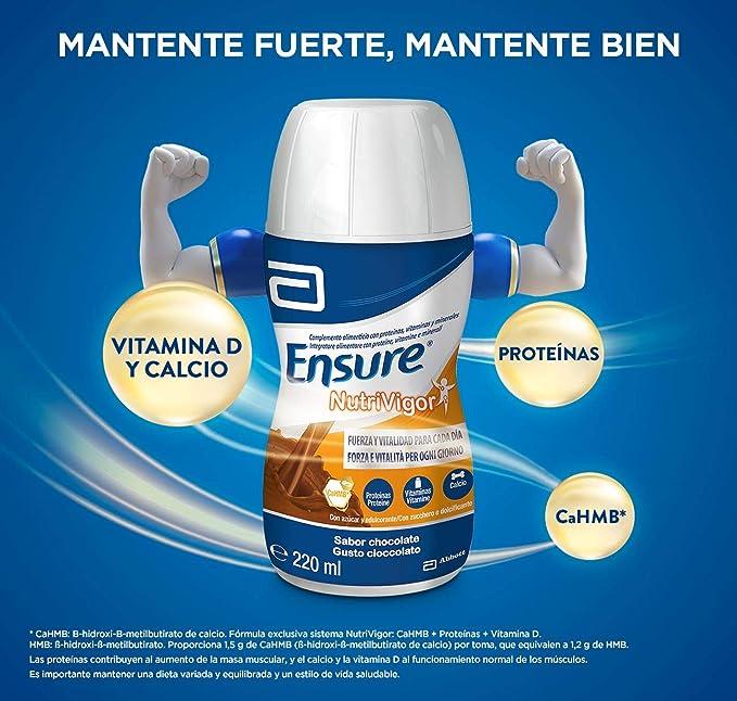 Ensure Nutrivigor - Complemento Alimenticio para Adultos, con HMB, Proteínas, Vitaminas y Minerales, como el Calcio - Sabor Chocolate - Pack de 4 ...