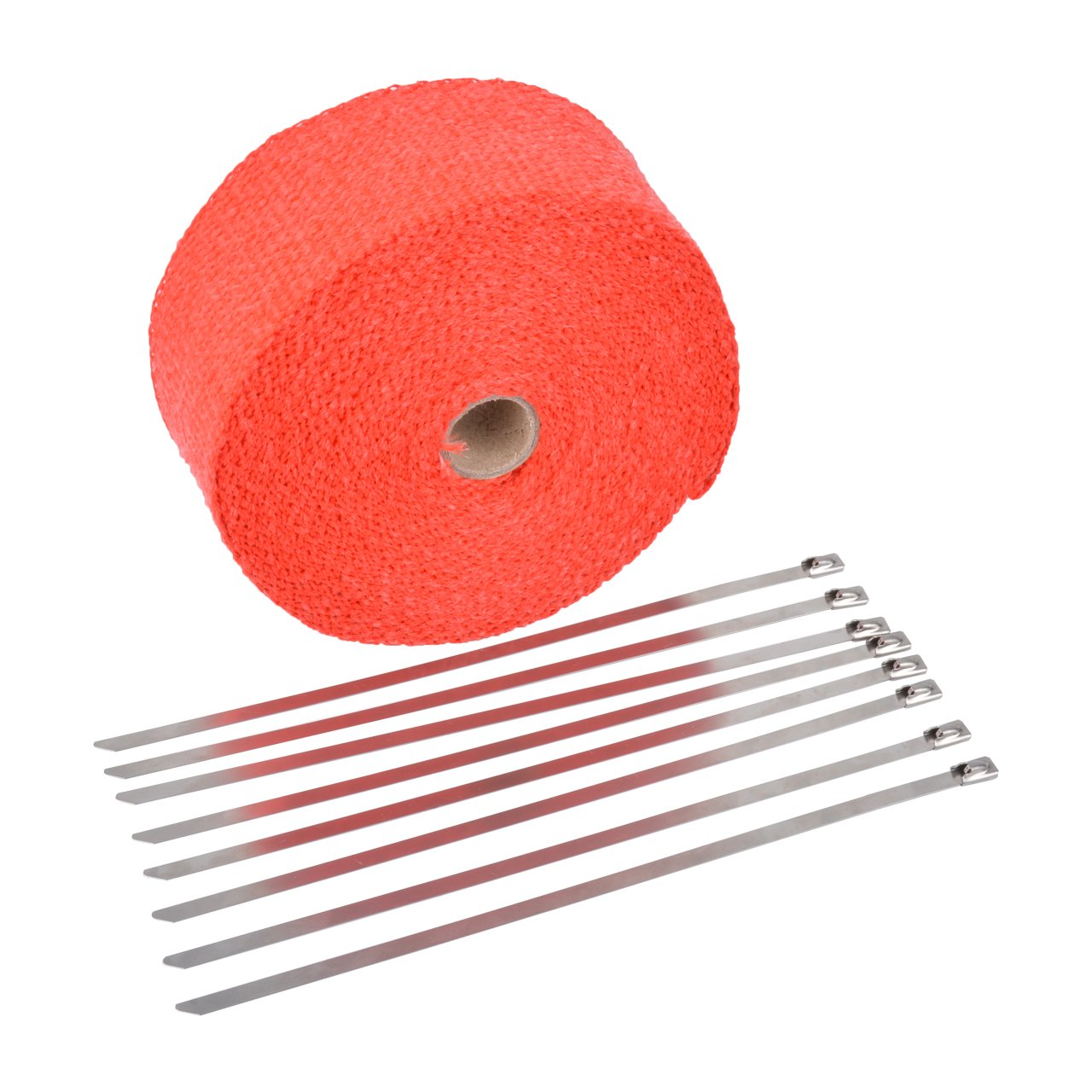 NATGIC 15M Car Motorcycle Exhaust Heat Wrap Tap Header Glassfiber Wrap Kit 2 x50Ft Red 8PCS 11.8 inch Stainless Locking Ties