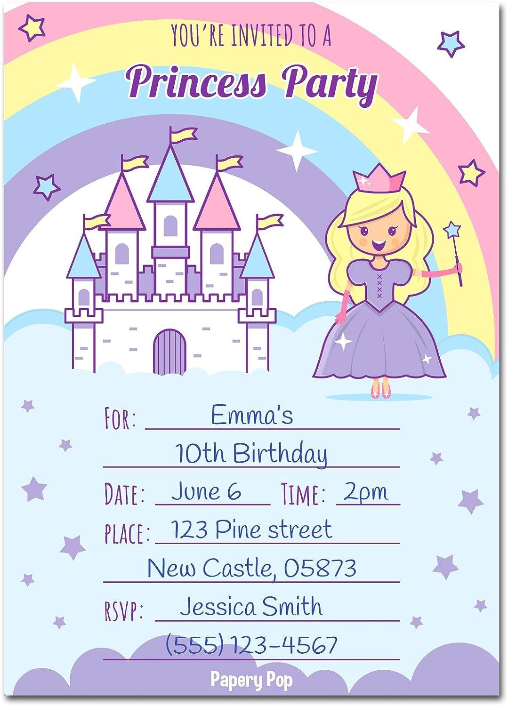Amazon 30 Princess Birthday Invitations With Envelopes Pack