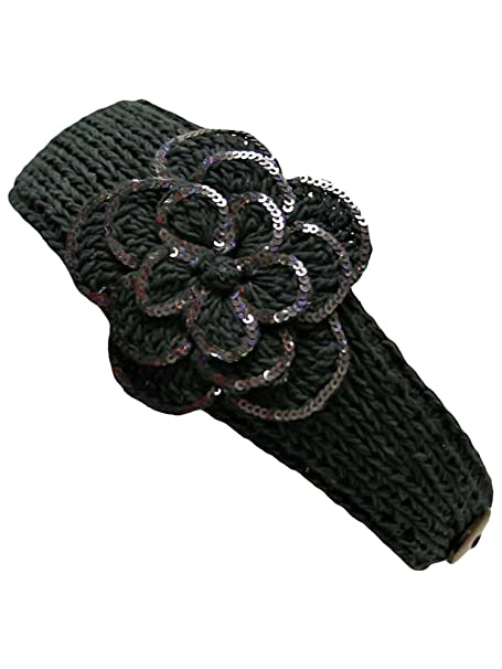 Black Crochet Headband With Sequin Flower At Amazon Womens Clothing