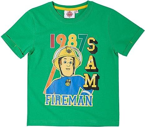 Sam el bombero Chicos Camiseta Manga Corta - Verde: Amazon.es ...