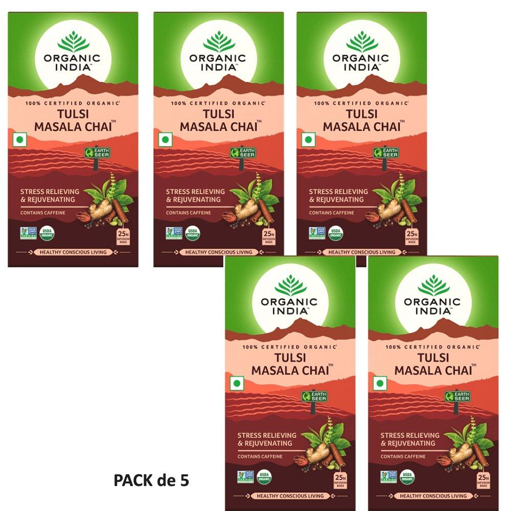 Organic India Infusión Tulsi Masala Chai Pack de 5 (Cada ...
