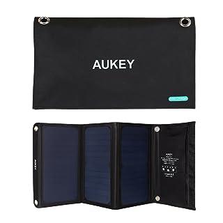 Aukey PB-P4 - Cargador panel solar con 2 puertos USB (21 W) color negro