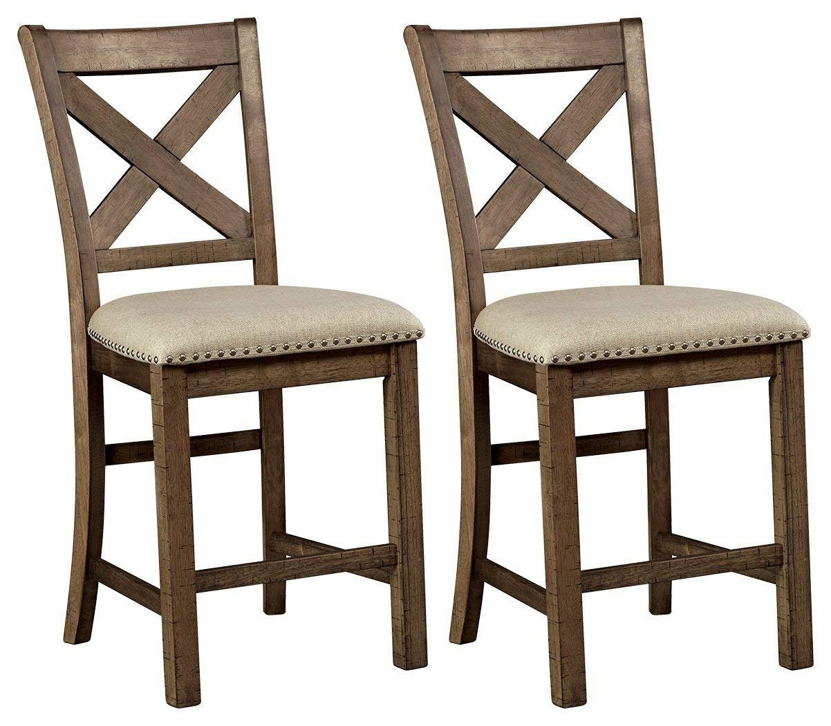 Signature Design by Ashley Rustic Style Pub Height Moriville Bar Stool (Set of 2), Morriville