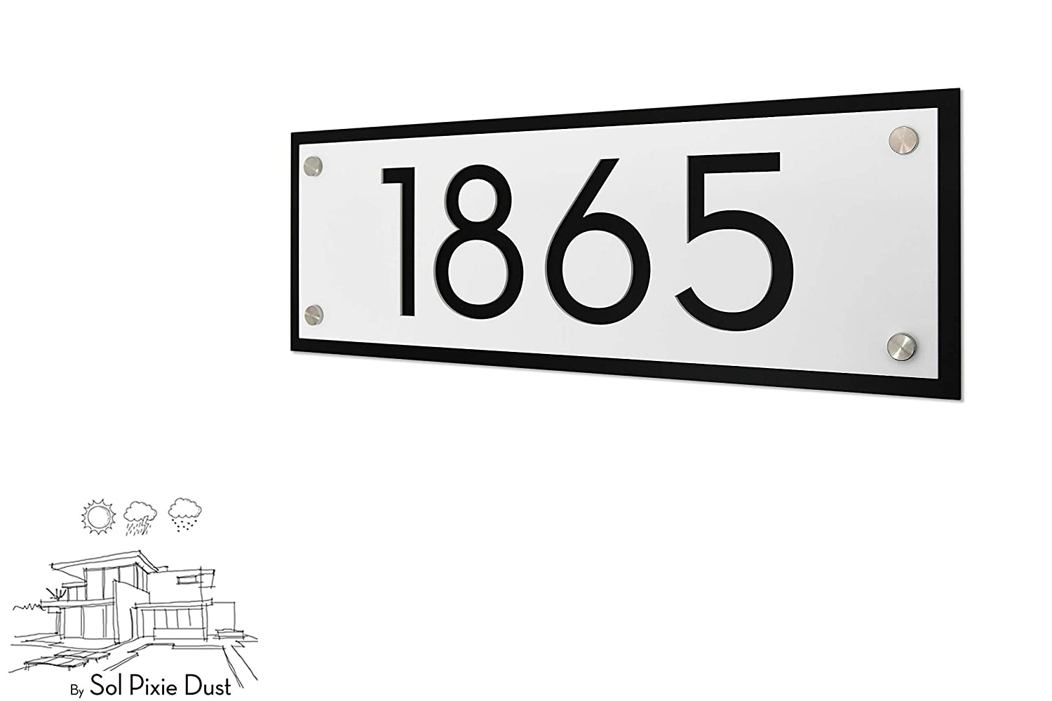 Modern House Numbers Door Number Framed Matte White Acrylic with Black Acrylic Horizontal Contemporary Home Address -Sign Plaque