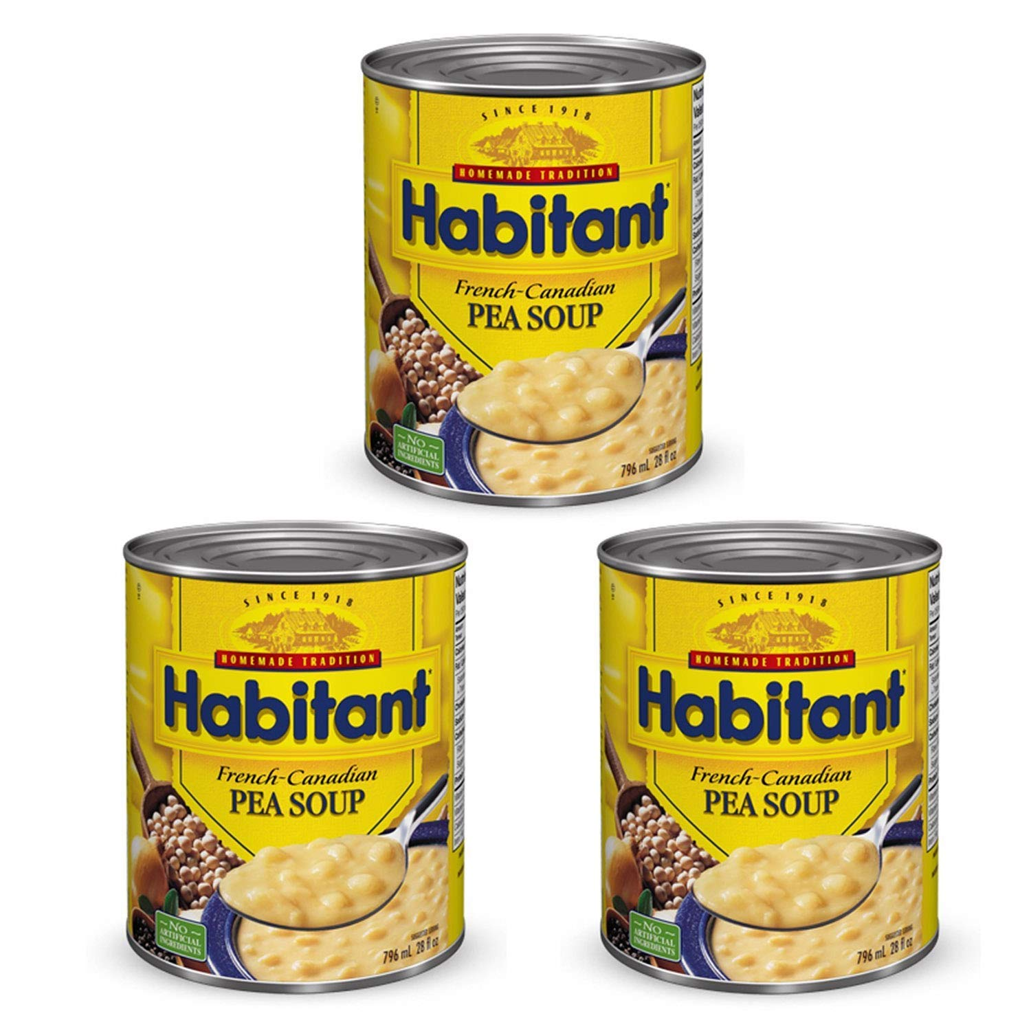 Habitant French Canadian Pea Soup 796ml/28 fl. oz. 3-Pack {Imported from Canada}