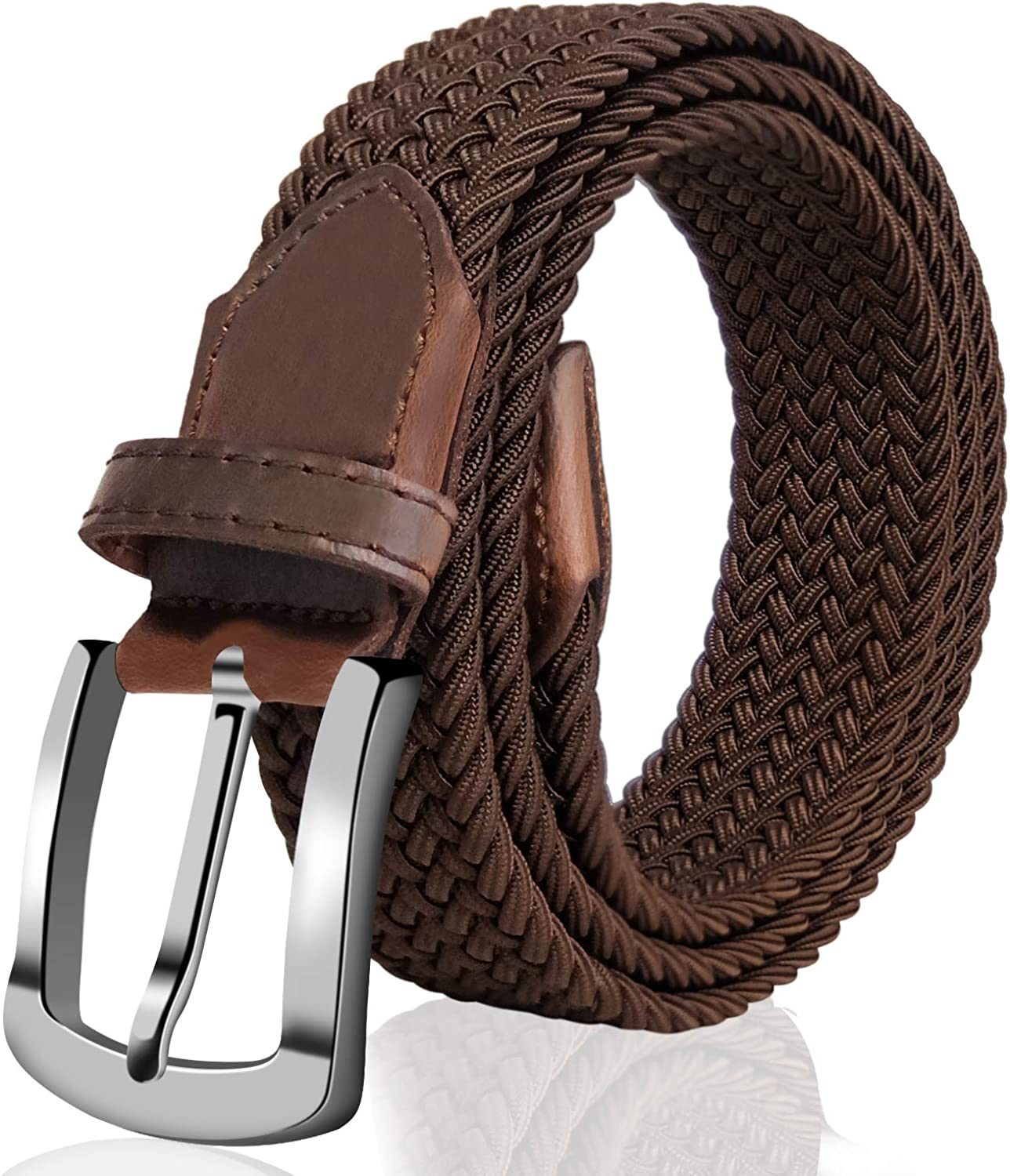 Women's Braided Elastic Fabric Woven Solid Color Stretch Belt with Leather Inlay