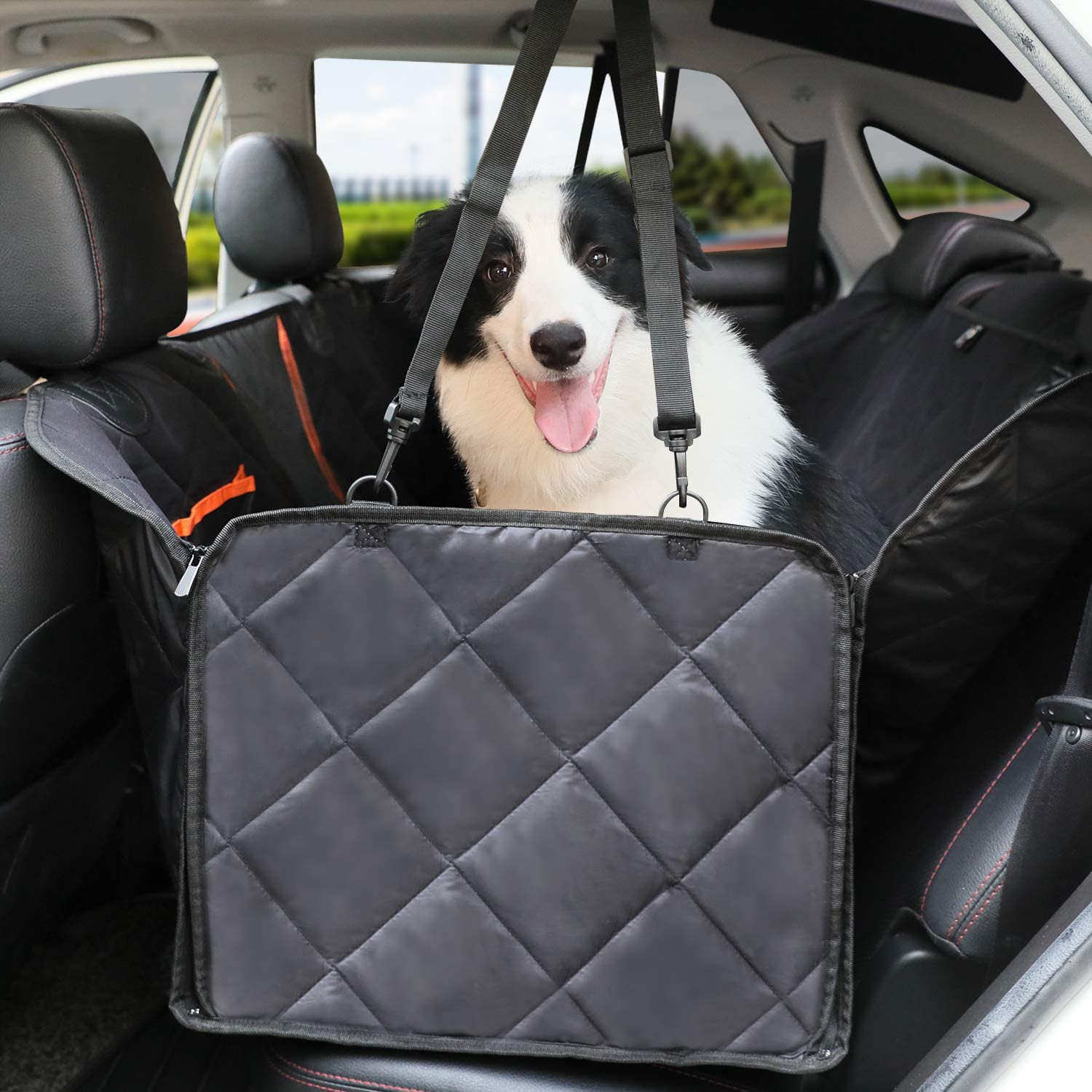 Dog Seat Covers, Nonslip Seat Covers for Dog with Mesh and Convertible Side Flaps, Dog Car Seat Covers Easy to Install and Clean Fits for Cars