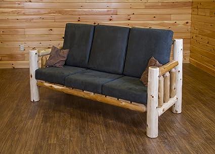 Amazon.com: Rustic White Cedar Log Sofa/Couch- Amish Made USA-Hunter ...