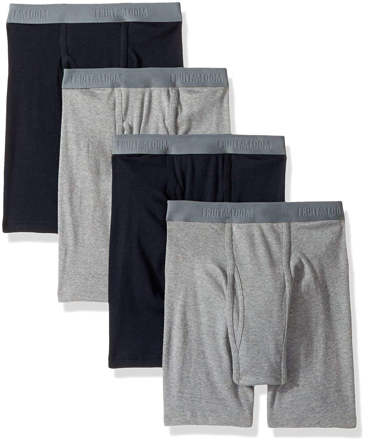 Fruit of The Loom Men's Premium Boxer Brief (4 Pack) (XXX-Large Big, Black/Gray)