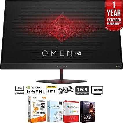 "3b3fc5c99 HP Omen 27"" QHD (2560 x 1440) 165Hz 1ms NVIDIA G-SYNC Gaming Monitor +  Elite Suite 17 Standard Software Bundle (Corel WordPerfect, Winzip, PDF  Fusion,X9) + ..."