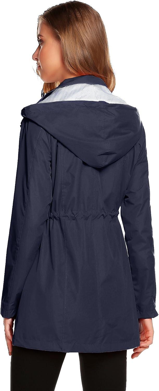 Romanstii Cappotto Giacca Impermeabile Donna Elegante Foderato Cappotto A Vento con Cappuccio Resistente allAcqua