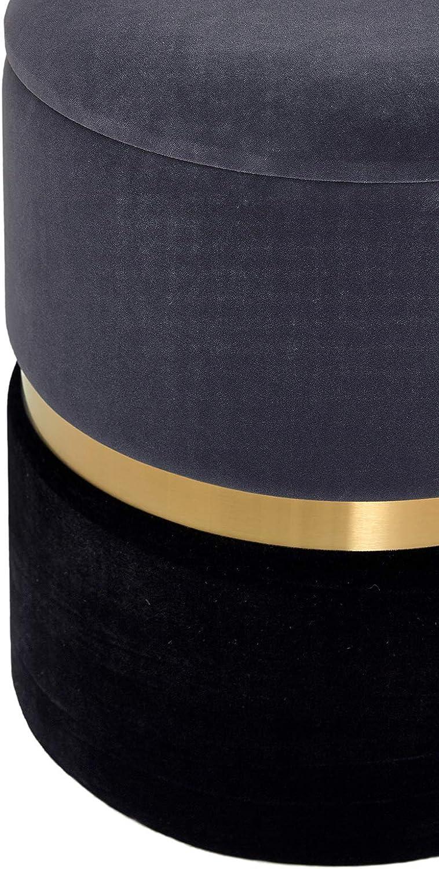 Pouf Contenitore Sgabello in Velluto Poggiapiedi Puff Rotondo Coperchio Rimovibile Moderno per Tavolo da Trucco Toeletta Salotto Corridoio Camera Metallo Dorata Marrone