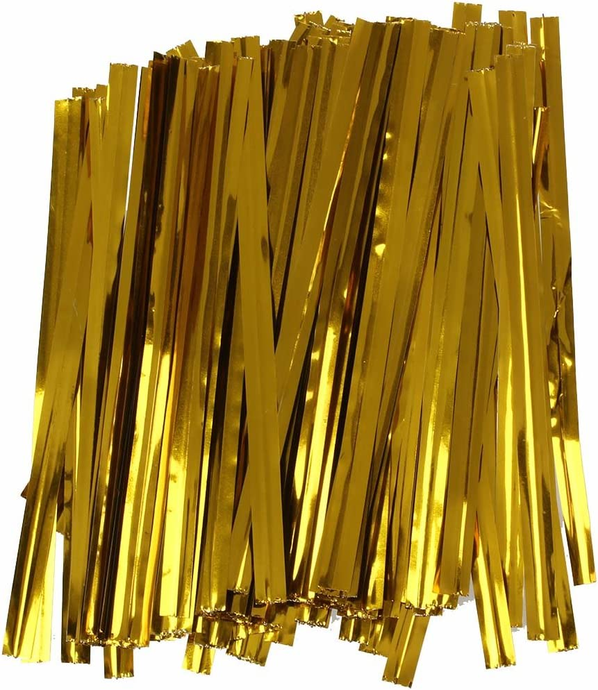 REFURBISHHOUSE 100 PC Hierro de Alambre Dorado Cierre de Torsion de Corbata Bolsa de Dulces Galleta Lollipops
