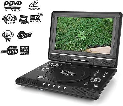 Reproductor de DVD portátil, reproductor de DVD para TV con pantalla giratoria de 9.5