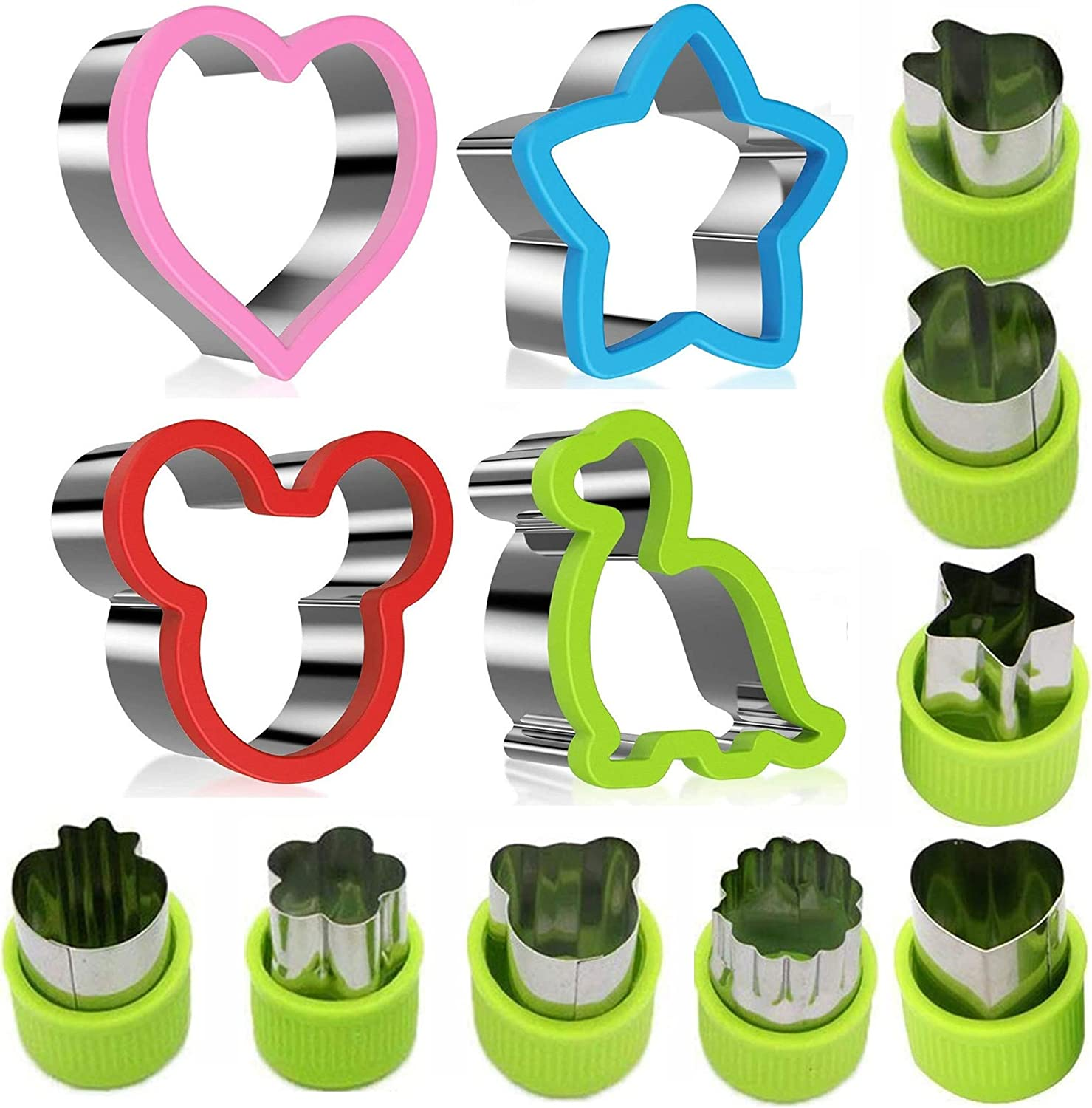 Sandwiches Cutter set(12 Pack), Mickey Mouse,Dinosaur ,Heart ,Star Shapes Sandwich Cutters Cookie Cutters Vegetable cutters-Food Grade Cookie Cutter Mold for Kids
