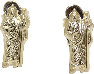 Santa Muerte 18k Gold Plated Screw Back Earrings Holy Death Stud Earrings