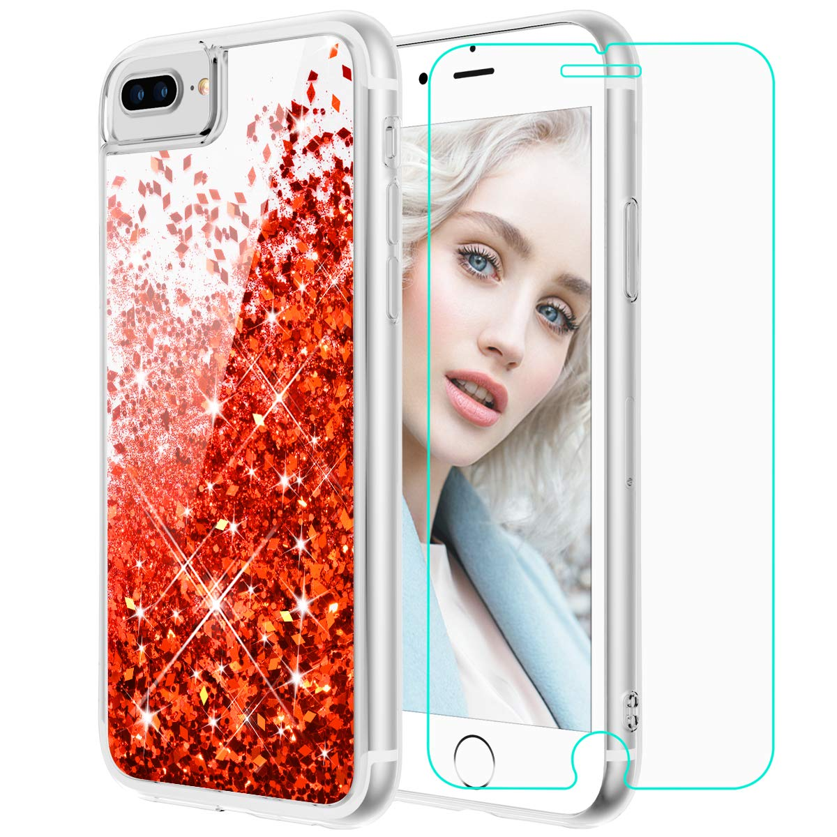 Maxdara iPhone 8 Plus Case, iPhone 7 Plus Glitter Liquid Case with Screen Protector Floating Bling Sparkle Luxury Pretty Girls Women Case for iPhone 6 Plus 6s Plus 7 Plus 8 Plus (Red)