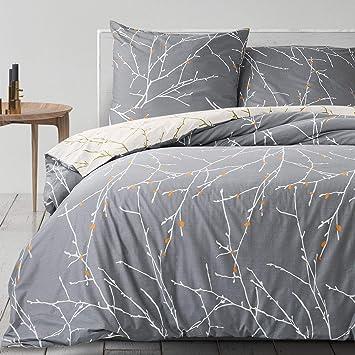 Bedsure Baumwolle Bettwäsche 200x200 Cm Graubeige Bettbezüge Mit