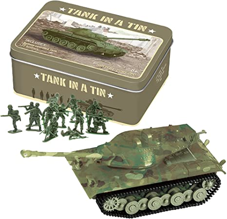 Battery Operated Tank In A Tin With 12 Green Army Men For Battle Play New