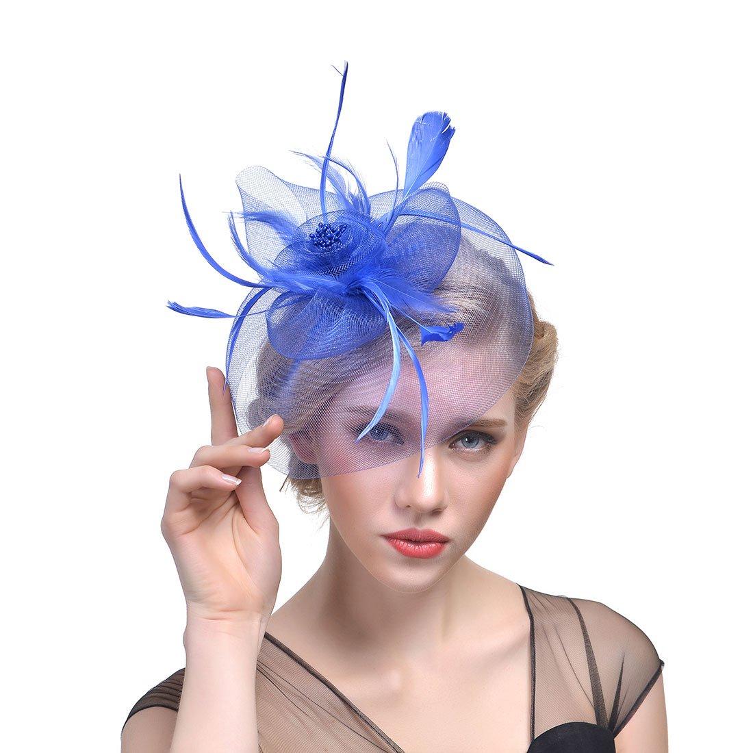 Zhisheng You Vintage Feather Flapper Headpiece Wedding 1920s Gatsby Headbands (Blue)