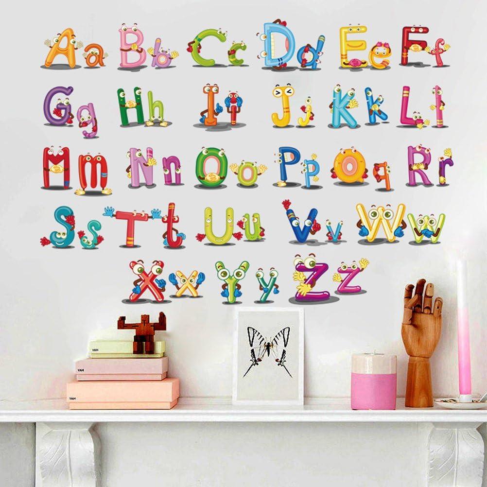 pegatinas de dibujos animados guarder/ía para habitaci/ón de ni/ños decoraci/ón Vosarea Adhesivos de pared alfabeto con letras