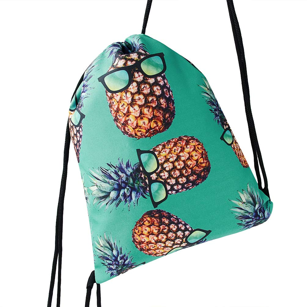 TUONROAD 3d Digital Print Custom Drawstring Gift Bags Sackpack Teal Turquoise Yellow Pineapple With Sunglasses Travel String Cinch Bag for Men Boys Girls Ladies College School Sports Soccer Basketball