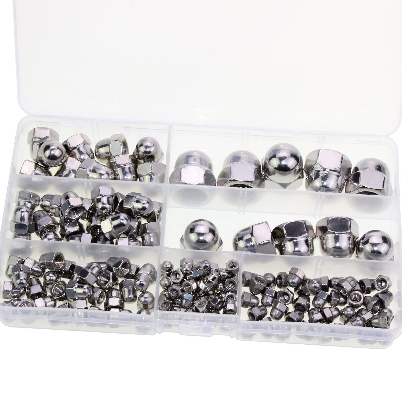 Lot de 160 /écrous borgnes Hseamall en acier inoxydable Assortiment d/écrous hexagonaux /à t/ête M3//M4//M5//M6//M8//M10//M12