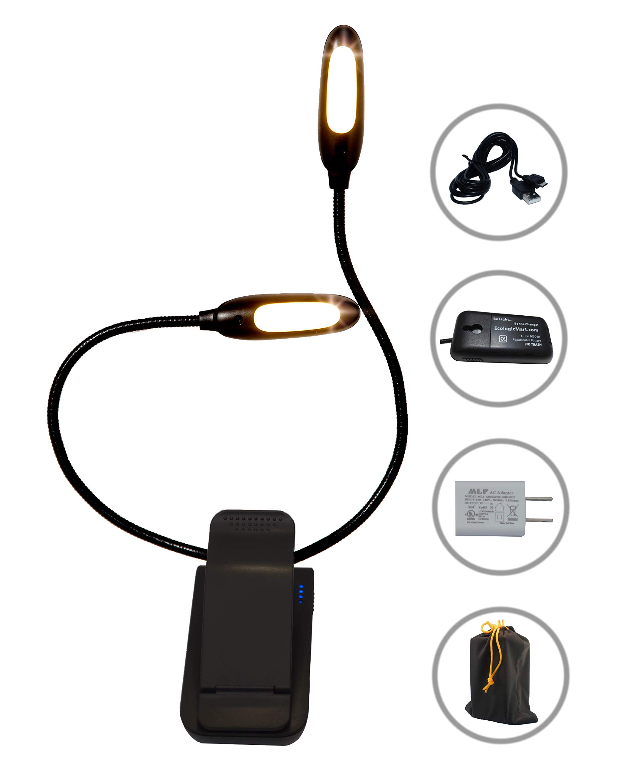 Eye Care Warm Book Light + Natural Music Stand Light + Cool Light to Study — 10 LED Durable & Portable Clamp Lamp — 2 Heads 3 Colors 3 Levels — Long Life Reachargeable & Replaceable 1200mAh Battery