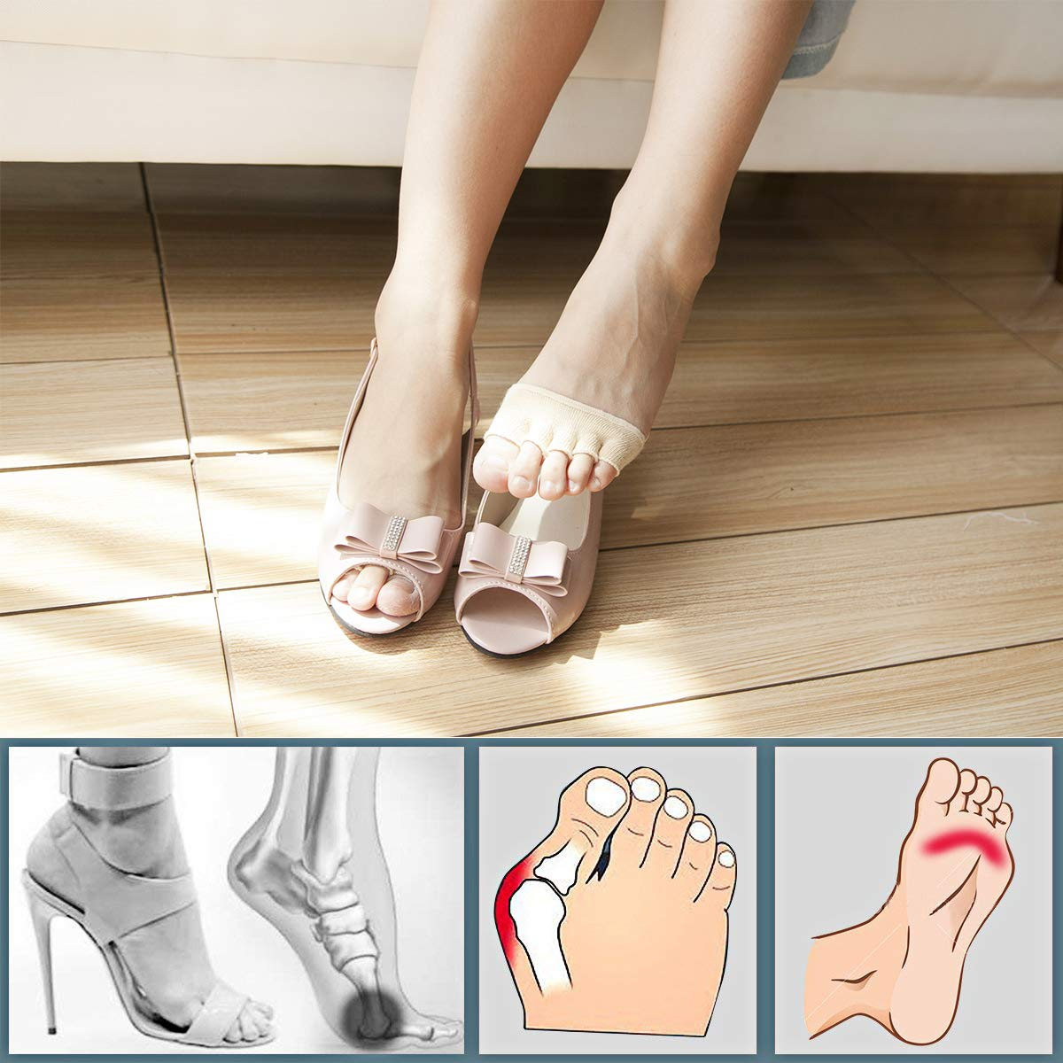 Toe Socks, Cotton Non-Slip Women's Toe Toppers Socks Toe Separating Socks No-Show Half Socks Barre Pilates Yoga Half Palm Socks(2 Pairs) by Pnrskter (Image #3)