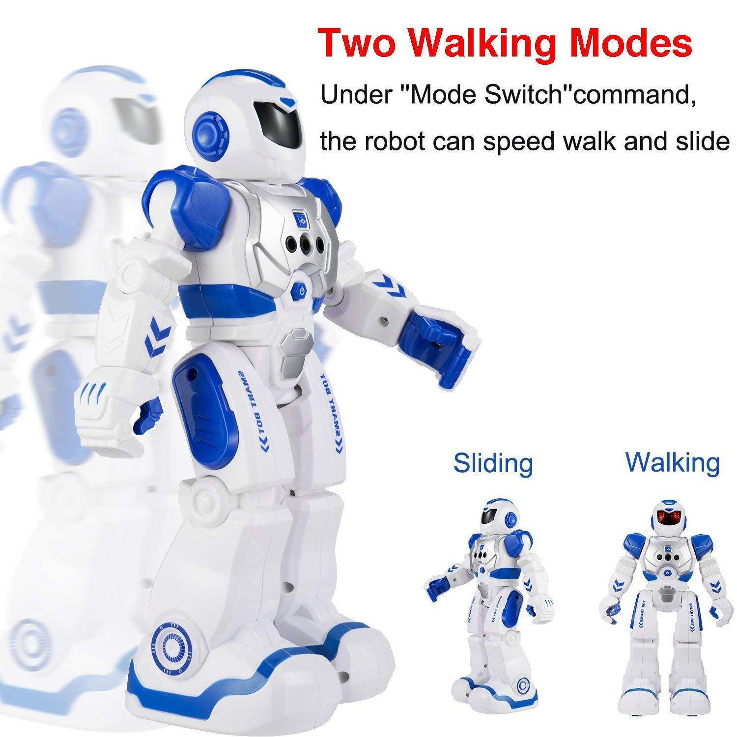 Elemusi Remote Wireless Control Robot for Kids Toys,Smart Robots with Singing,Dancing,Gesture Sensing Entertainment Robotics for Children (Blue) by Elemusi (Image #2)