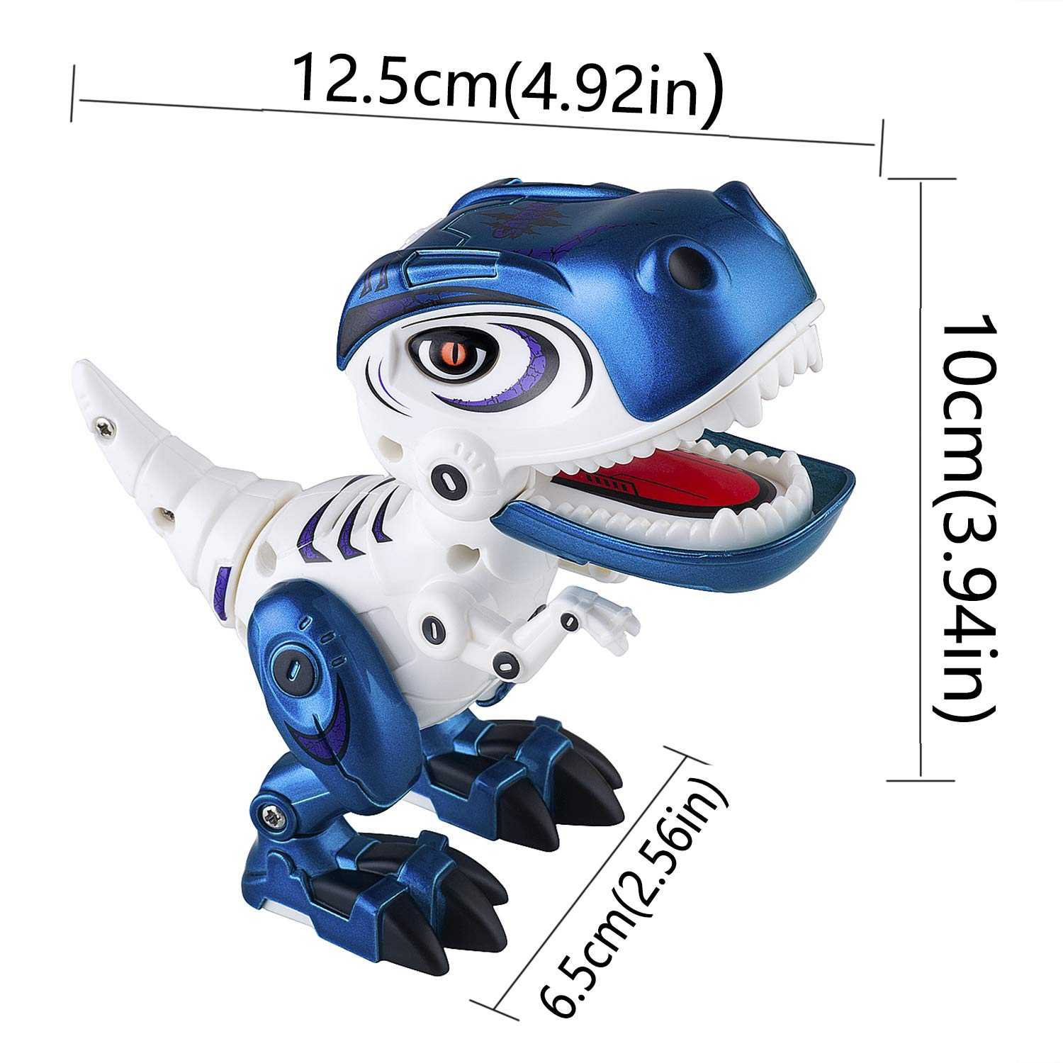 Dolibi Dinosaur Toys for 3 Year Olds Up,Mini Dino Toys Dinosaur Robot,Flexible Body,Sound & Lights (Blue) by Dolibi (Image #5)
