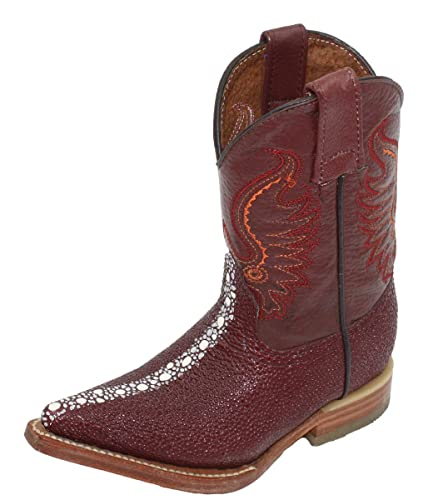 44409063e1d Dona Michi Kids Unisex Genuine Leather Stingray Design(Embossed) Cowboy  Western Durable Boots