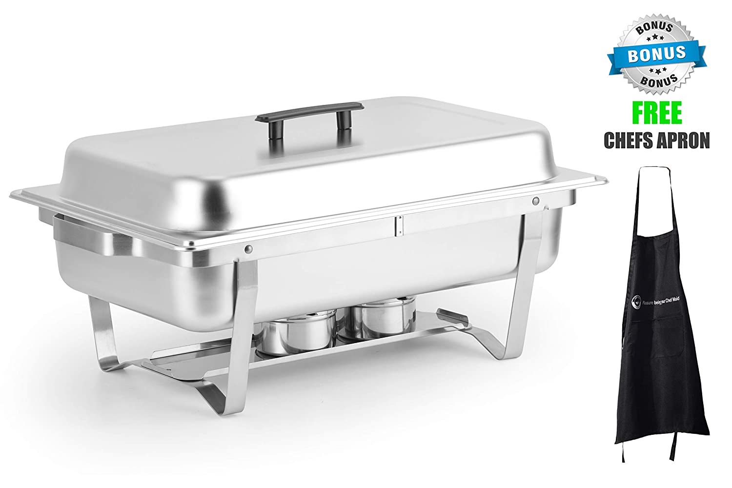 ChefMaid 8 Quart Full Size Stainless Steel Chafer Set with Folding Frame + Free Chefs Apron ChefMaid USA