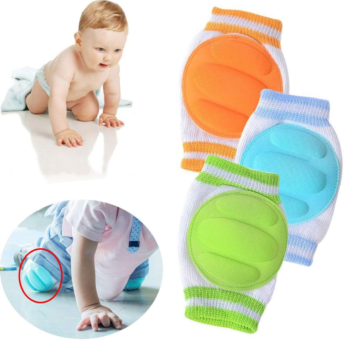 3 Pairs Baby Knee Pads for Crawling - Adjustable Breathable Waterproof Safety Protector, Anti-Slip Elastic Knee Elbow Pads Cushion Leg Warmers for Babies, Toddlers, Infants, Boys, Girls, Kids