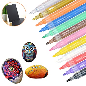 Acrylic Paint Markers Pens 12 Colors Art Permanent Paint Pens For Painting On Rock Glass Canvas Fabric Metal Wood Ceramic Easter Egg Diy