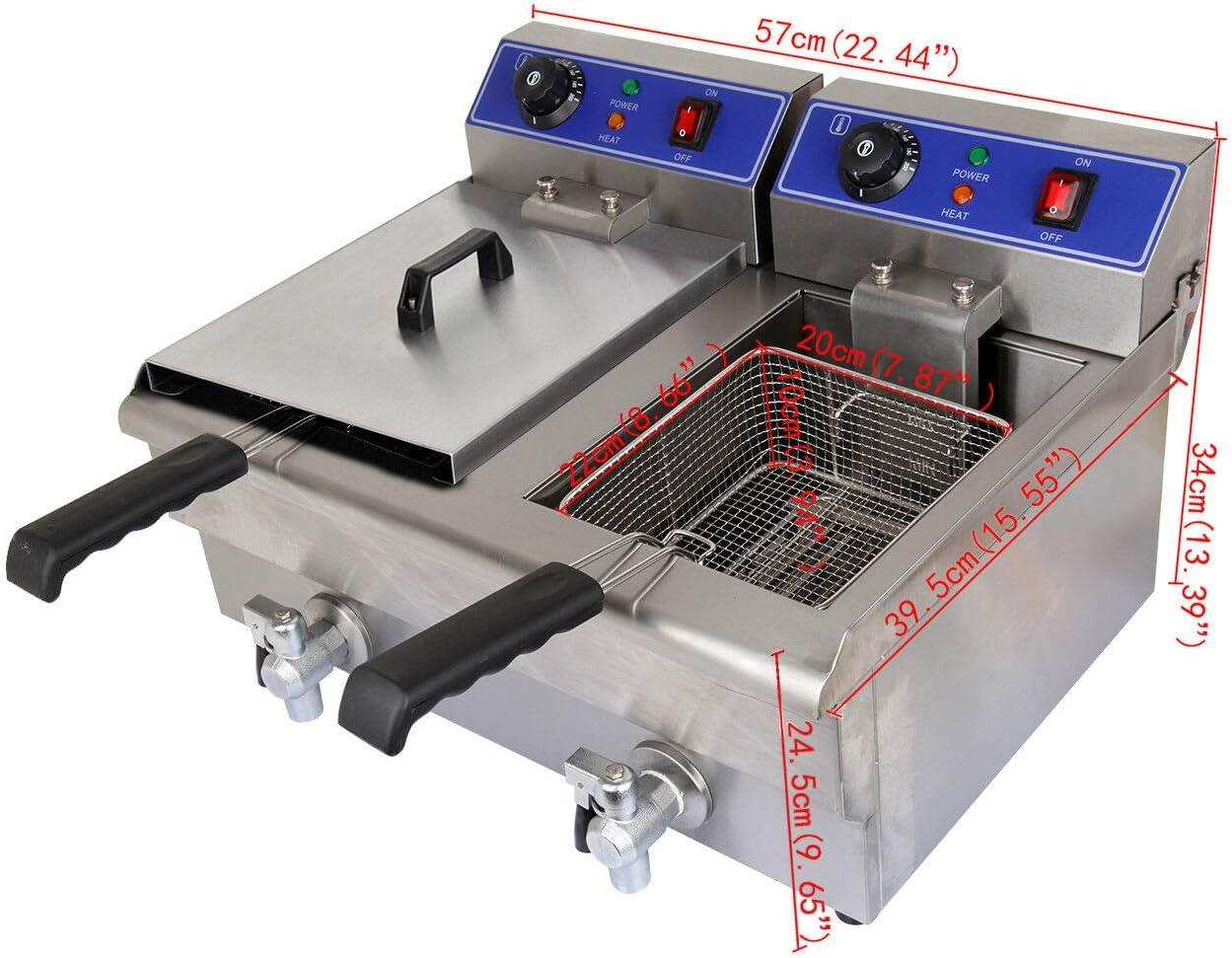 VARAYA 20 Liter Stainless Steel Dual Tank Commercial Countertop Deep Fryer Machine 110v