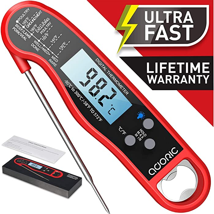 Digital Instant Read Meat Thermometer, Adoric Waterproof Food Thermometer with Backlight LCD, Kitchen Cooking Thermometer Probe for Grilling Oven Smoker BBQ