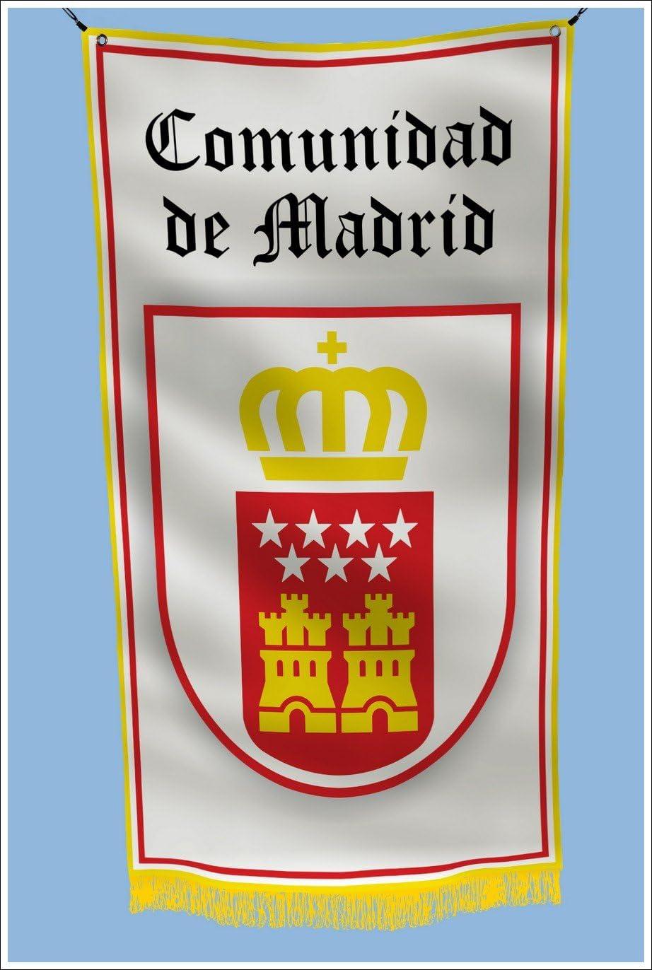 Comunidad de Madrid España escudo de armas Hangar de garaje sótano bandera 3 x 5 pies: Amazon.es: Jardín